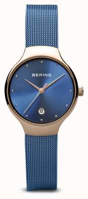 Bering Frauen | klassisch | blaues pvd plattiertes blaues mesh armband 13326-368