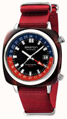 Briston Clubmaster gmt limited edition | automatisch | roter nato riemen 19842.SA.T.P.NR