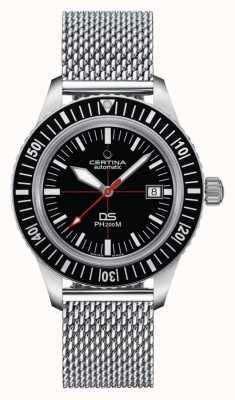 Certina | ds ph200m | Edelstahl-Mesh-Armband | schwarzes Zifferblatt | C0364071105000