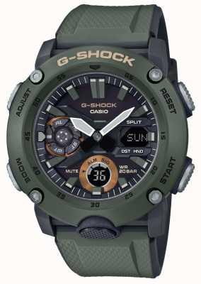 Casio | g-shock carbon kernschutz | grünes Kautschukband | GA-2000-3AER
