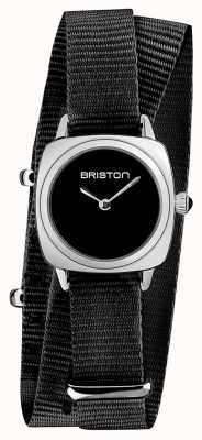 Briston | klubmeisterin dame | einzelnes schwarzes nato armband | schwarzes Zifferblatt | 19924.S.M.1.NB