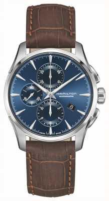 Hamilton | jazzmaster auto chronograph | blaues Zifferblatt | braunes Leder | H32586541