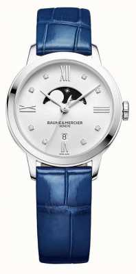 Baume & Mercier | Womens Classima | blaues Leder | silbernes Mondphasenzifferblatt | M0A10329