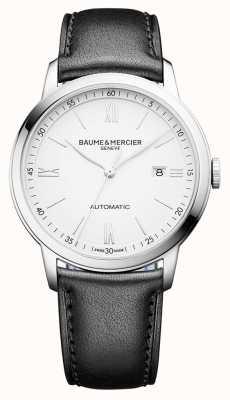 Baume & Mercier | Mens Classima | automatisch | schwarzes Leder | weißes Zifferblatt | BM0A10332