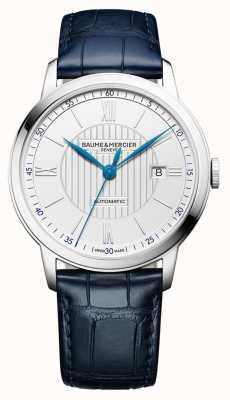 Baume & Mercier | Mens Classima | automatisch | blaues Leder | silbernes Zifferblatt | BM0A10333