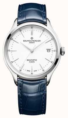 Baume & Mercier | Herren Clifton | baumatic | blaues Leder | weißes Zifferblatt | BM0A10398