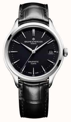 Baume & Mercier | Herren Clifton | baumatic | schwarzes Leder | schwarzes Zifferblatt | BM0A10399