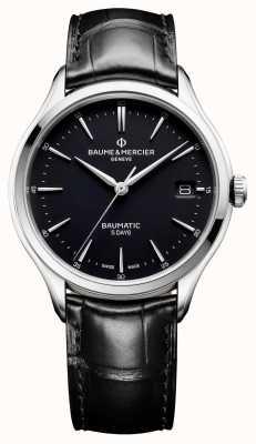 Baume & Mercier | Herren Clifton | baumatisch | schwarzes Leder | schwarzes Zifferblatt | M0A10399