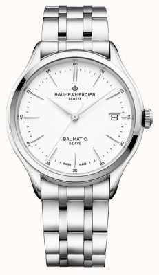 Baume & Mercier | Herren Clifton | baumatic | Edelstahl | weißes Zifferblatt | BM0A10400