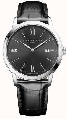 Baume & Mercier | Mens Classima | schwarzes Leder | schiefergraues Zifferblatt | BM0A10416