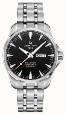 Certina | ds action powermatic 80 | Edelstahl | schwarzes Zifferblatt | C0324301105100