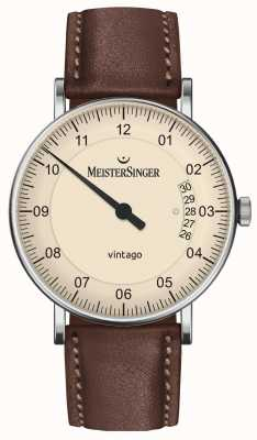 MeisterSinger | herren vintago | automatisch | braunes Leder | cremefarbenes Zifferblatt | | VT903