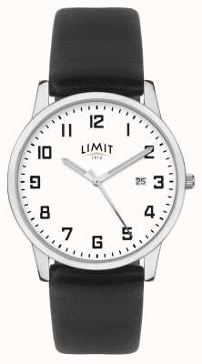 Limit | schwarzes Lederarmband für Herren | silber / weißes zifferblatt | 5741.01