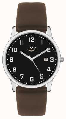 Limit | dunkelbraunes Lederarmband für Herren | schwarzes Zifferblatt | 5744.01