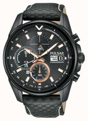 Pulsar | Beschleuniger - Chronograph schwarzes Lederband | schwarzes Zifferblatt PZ6033X1