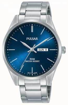 Pulsar | Herrentag / Datum Edelstahlarmband | blaues Zifferblatt | PJ6109X1