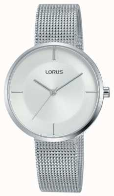 Lorus   Damen Edelstahlgewebe Armband   silbernes Zifferblatt   RG257QX9