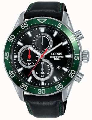 Lorus | herren chronograph | grüne Lünette | schwarzes Lederband | RM347FX9