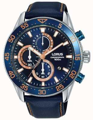 Lorus   herren chronograph   blaue Lünette   blaues Leder   blaues Zifferblatt   RM341FX9