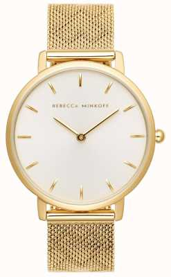 Rebecca Minkoff Womens major | vergoldetes mesh armband | silberweißes Zifferblatt 2200298