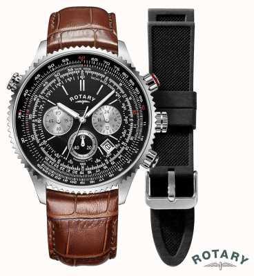 Rotary | herren | Fliegerchronograph Uhr | austauschbarer Riemen | GS00100/04/KIT