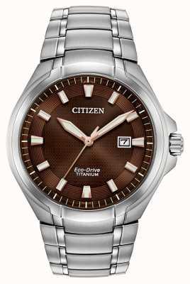 Citizen Herren Paradigma Eco-Drive Titan braun Zifferblatt Uhr BM7431-51X