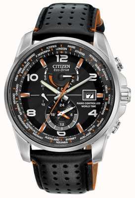 Citizen | Herren Eco-Drive Weltzeit bei | schwarzes Armband | schwarzes Zifferblatt | AT9030-04E