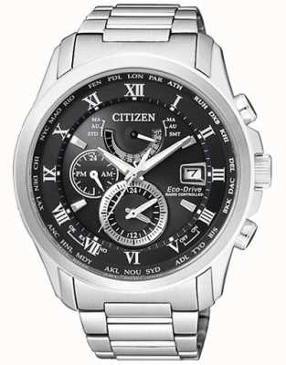 Citizen | mens eco-drive world time bei | Edelstahl | Blackdial AT9081-89E