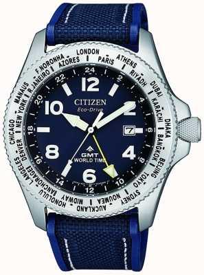 Citizen Herren eco-drive promaster gmt blaues Zifferblatt blaue Leinwand Armbanduhr BJ7100-15L