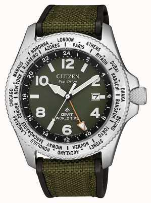 Citizen Herren eco-drive promaster gmt grün Leinwand Armband grün Zifferblatt Uhr BJ7100-23X