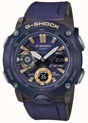 Casio | g-shock carbon core weltzeit | blaues Kautschukband | GA-2000-2AER