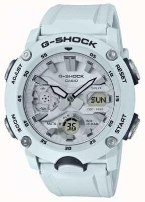 Casio | g-shock carbon kernschutz | weißes Kautschukband | GA-2000S-7AER