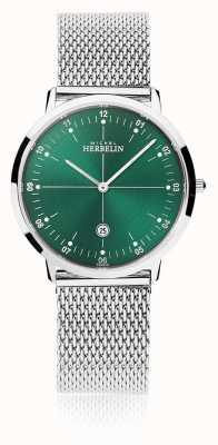 Michel Herbelin | Stadt der Männer / Frauen Silber-Mesh-Armband | grünes Zifferblatt | 19515/16B