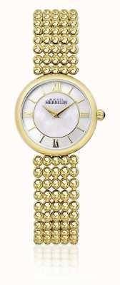 Michel Herbelin | Frauen Perle | goldfarbenes Armband | Perlmutt Zifferblatt | 17483/BP19