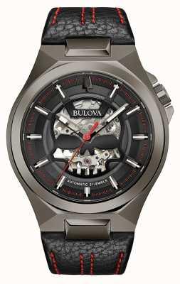 Bulova Herren maquina | automatisch | schwarzes Lederband | schwarzes Zifferblatt 98A237