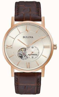 Bulova | herren | automatisch | braunes Lederband | silbernes Zifferblatt | 97A150