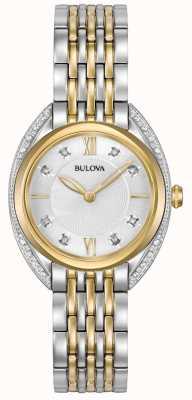 Bulova Klassischer Diamant für Damen | zweifarbiges Edelstahlarmband 98R229