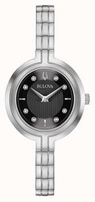 Bulova | Rhapsodie | Damen | Stahlarmband | schwarzes Zifferblatt | 96P215