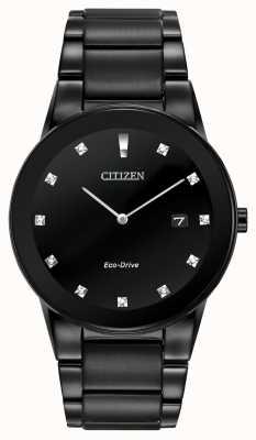 Citizen | Herren Axiom Eco-Drive | schwarzes diamant zifferblatt | schwarzes Armband AU1065-58G