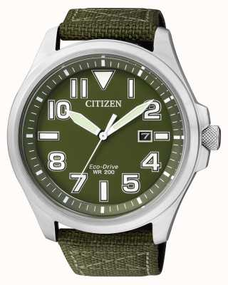 Citizen | mens eco-drive | grünes Nylonband | grünes Zifferblatt | AW1410-32X