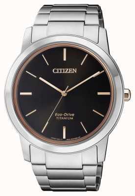 Citizen | herren eco-drive titan wr50 | schwarzes Zifferblatt | silbernes Armband AW2024-81E