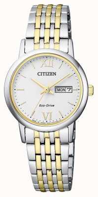 Citizen | Frauen Eco-Drive | zweifarbiges Armband | silbernes Zifferblatt | EW3254-87A