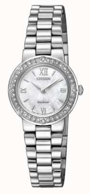 Citizen | Frauen Eco-Drive | Kristallkasten | silbernes Armband | EW9820-89D