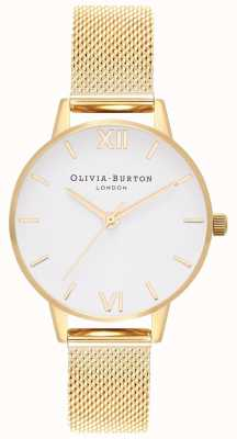 Olivia Burton | Frauen | weißes Zifferblatt | goldgeflecht armband | OB16MDW35