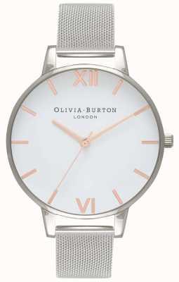 Olivia Burton | Frauen | weißes Zifferblatt | silbernes Netzarmband | OB16BD97
