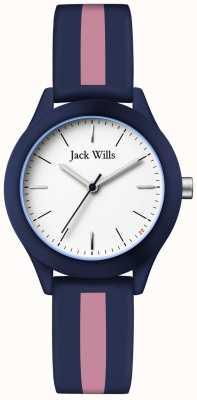 Jack Wills | Frauengewerkschaft | weißes Zifferblatt | navy / pink silikonband | JW008BLPST