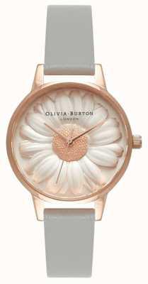 Olivia Burton   Frauen   3d gänseblümchen   graues Lederband   OB15EG50