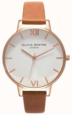 Olivia Burton | Frauen | großes weißes zifferblatt | braunes Lederband | OB16BDW19