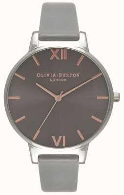 Olivia Burton   Frauen   großes graues Zifferblatt   graues Lederband   OB16BD90