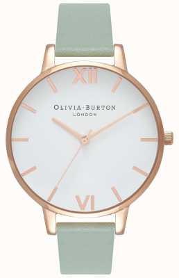 Olivia Burton | Frauen | großes weißes zifferblatt | mintlederband | OB16BDW27